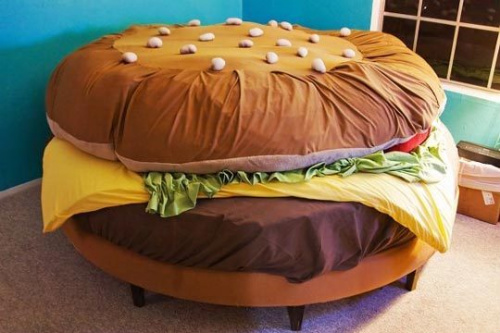 what up Burger Bed? Really? this is amazing!!!! Someone has to have a  pretty severe love of burgers to own this meaty oasis.